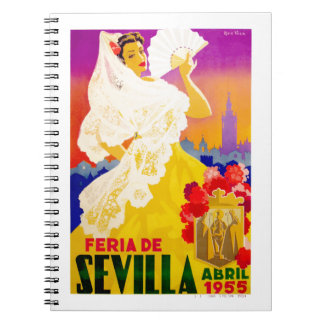 Spain 1955 Seville April Fair Poster Notebooks