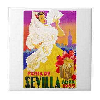 Spain 1955 Seville April Fair Poster Small Square Tile