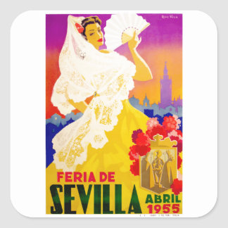 Spain 1955 Seville April Fair Poster Square Sticker