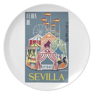 Spain 1960 Seville Festival Poster Dinner Plates