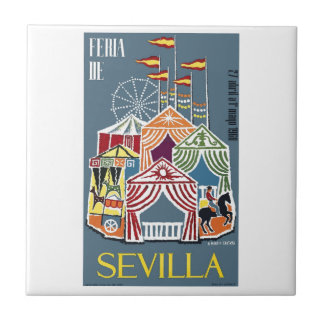 Spain 1960 Seville Festival Poster Small Square Tile