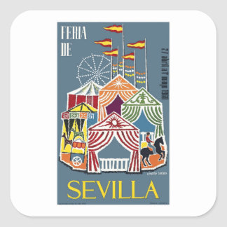 Spain 1960 Seville Festival Poster Square Sticker