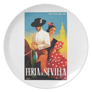 Spain 1961 Seville April Fair Poster Dinner Plates