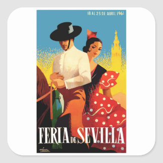 Spain 1961 Seville April Fair Poster Square Sticker