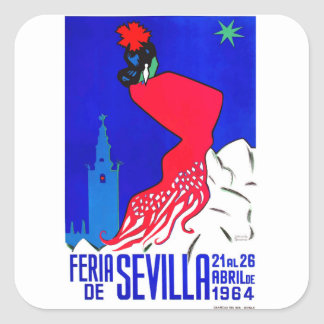 Spain 1964 Seville April Fair Poster Square Sticker