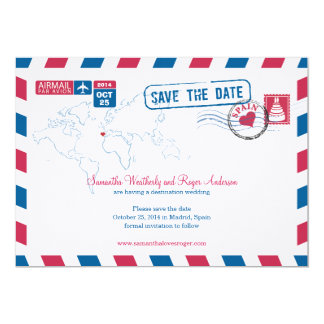 Spain Air Mail Wedding Save The Date Card