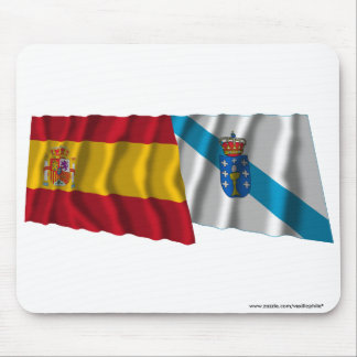 Spain and Galicia waving flags Mouse Pad