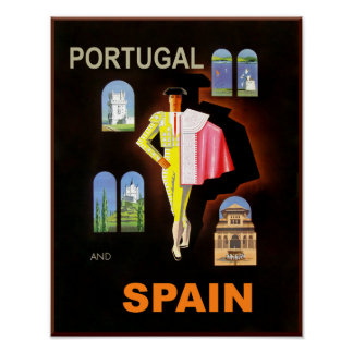Spain and Portugal travel poster. Poster