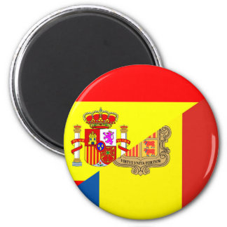 spain andorra half flag country symbol 6 cm round magnet
