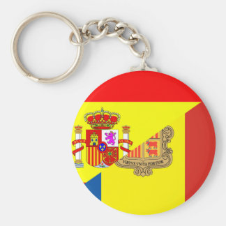 spain andorra half flag country symbol basic round button key ring