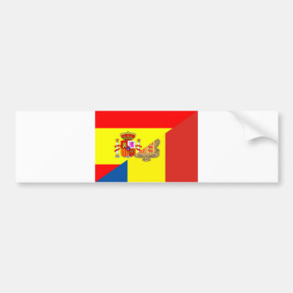 spain andorra half flag country symbol bumper sticker