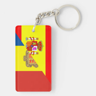 spain andorra half flag country symbol Double-Sided rectangular acrylic key ring