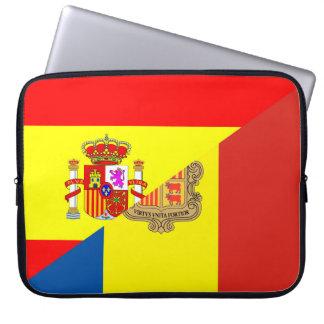 spain andorra half flag country symbol laptop sleeve
