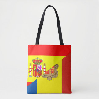 spain andorra half flag country symbol tote bag