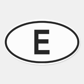 "Spain ""E"" Oval Sticker"