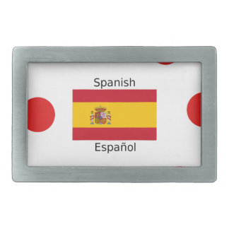 Spain Flag And Spanish Language Design Belt Buckles