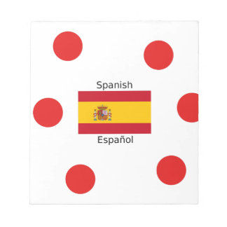 Spain Flag And Spanish Language Design Notepad