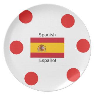 Spain Flag And Spanish Language Design Plate