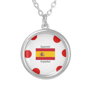 Spain Flag And Spanish Language Design Silver Plated Necklace