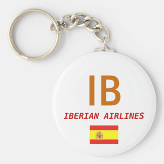Spain Flag, IB, IBERIAN AIRLINES Basic Round Button Key Ring