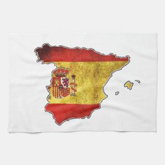 Spain Flag Map Tea Towel