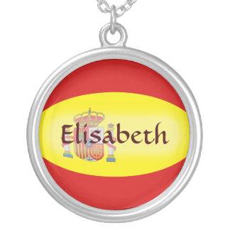 Spain Flag + Name Necklace