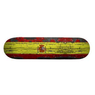 Spain flag on disstressed paint skateboard
