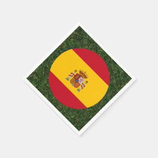 Spain Flag on Grass Disposable Napkin