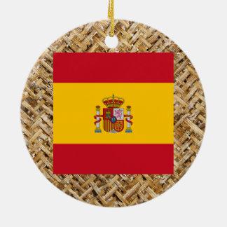 Spain Flag on Textile themed Ceramic Ornament