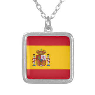 Spain Flag Silver Plated Necklace