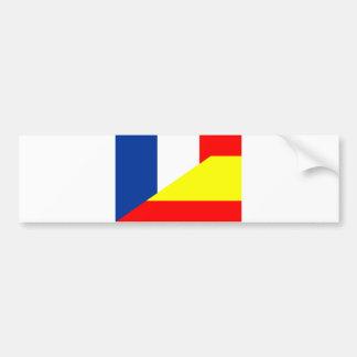 spain france neighbor countries half flag symbol s bumper sticker