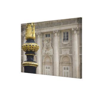 Spain, Madrid. Royal Palace, ornate gilded lamp Canvas Print
