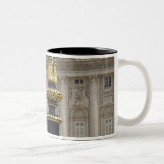 Spain, Madrid. Royal Palace, ornate gilded lamp Mugs