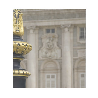 Spain, Madrid. Royal Palace, ornate gilded lamp Notepad