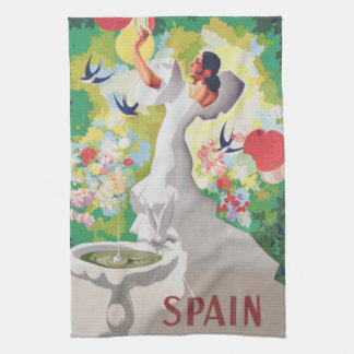 Spain Senorita Birds Flowers Fiesta Garden Tea Towel