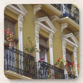 Spain, Sevilla, Andalucia Geraniums hang over Drink Coaster