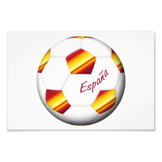 SPAIN SOCCER ball and flag of the national team Photographic Print