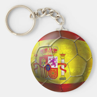 Spain Soccer Grunge ball Spanish flag Basic Round Button Key Ring