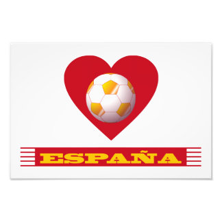 SPAIN Soccer Heart and Scarf Brazil 2014 Photo Art