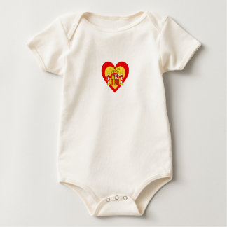 Spain/Spanish Flag-Inspired Hearts Baby Bodysuit
