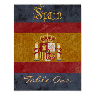Spain Table Number Poster
