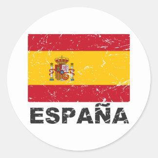 Spain Vintage Flag Round Sticker