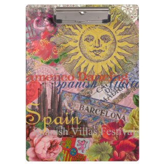 Spain Vintage Trendy Spanish Travel Collage Clipboard
