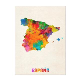 Spain Watercolor Map Gallery Wrap Canvas