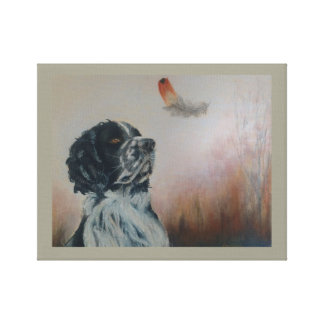 Spaniel and the feather, original pastel art canvas print