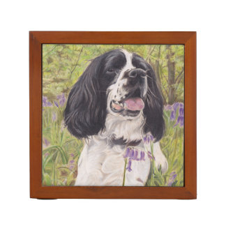 Spaniel in bluebells desk tidy desk organiser