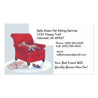 Spaniel in Red Chair ~ Retro Style Business Card
