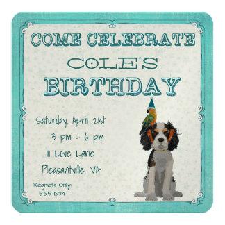SPANIEL & PARROT  Birthday Invitation