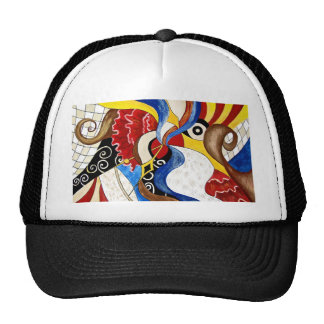 Spanish abstract art painting mesh hats