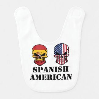 Spanish American Flag Skulls Bib
